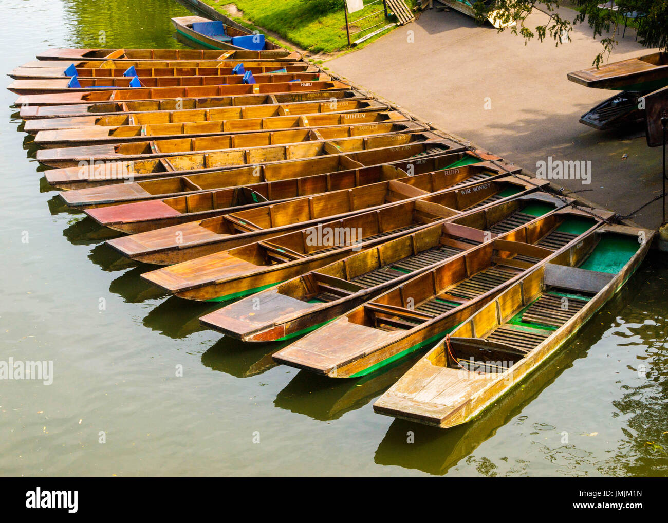 Waiting Punts on River Cam with Fanciful Names - Stock Image