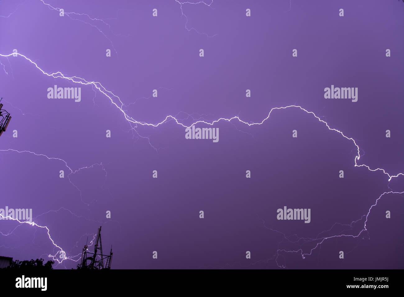 Lightning over Bangalore Stock Photo