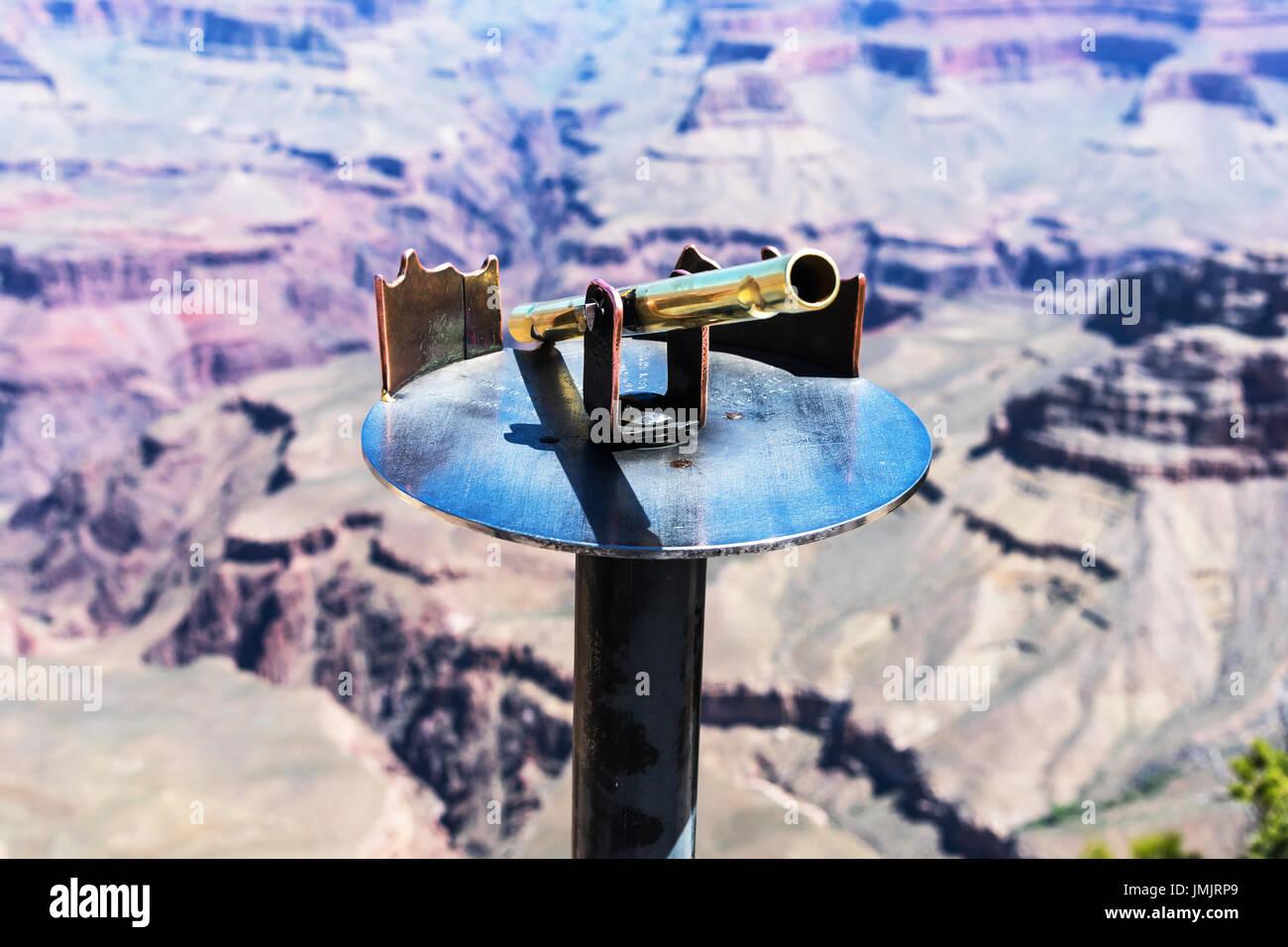 Optical device on a viewing platform,  Grand Canyon National Park,   Arizona, USA - Stock Image