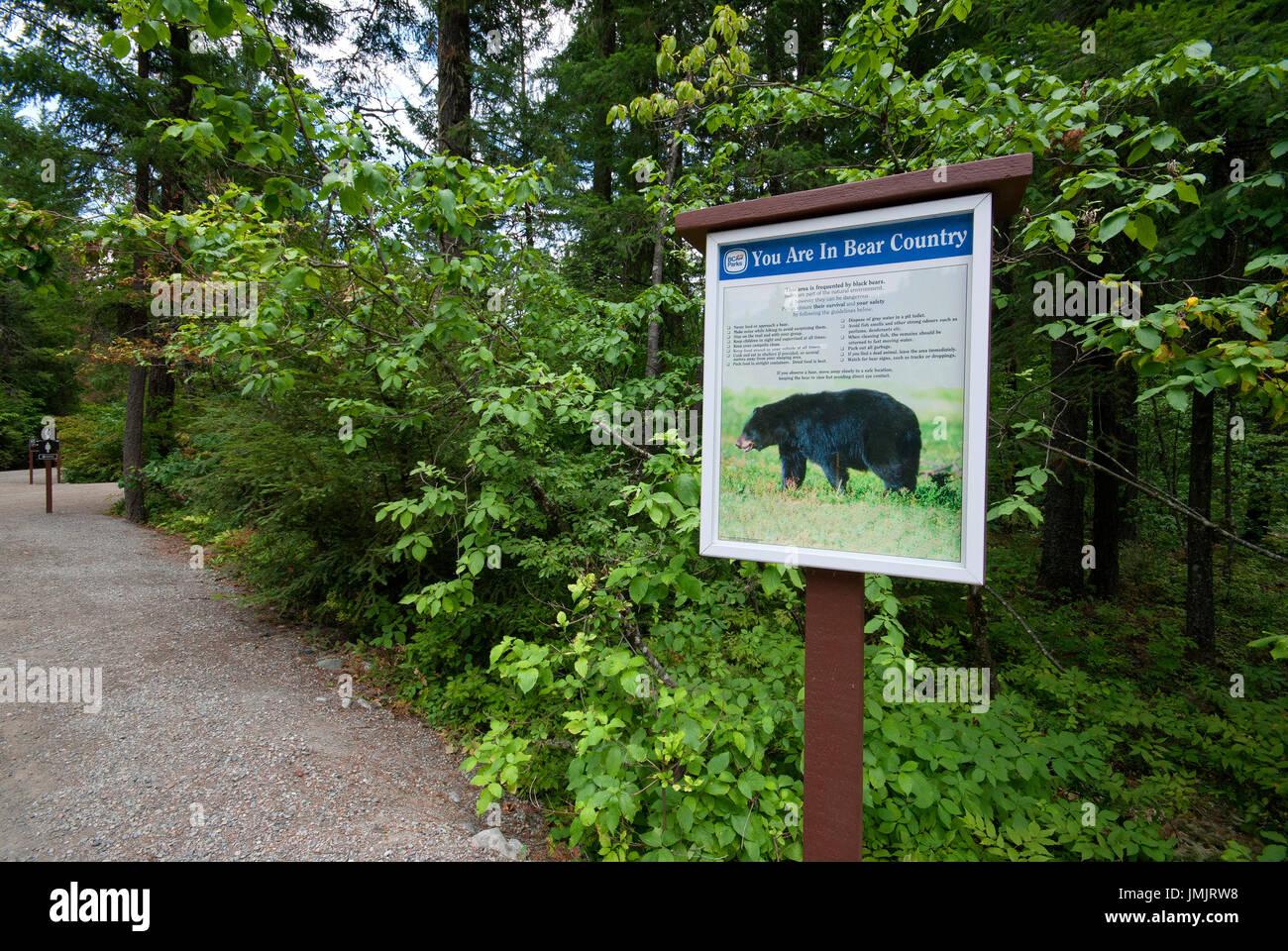 Black bear warning sign, Nairn Falls Provincial Park, British Columbia, Canada - Stock Image