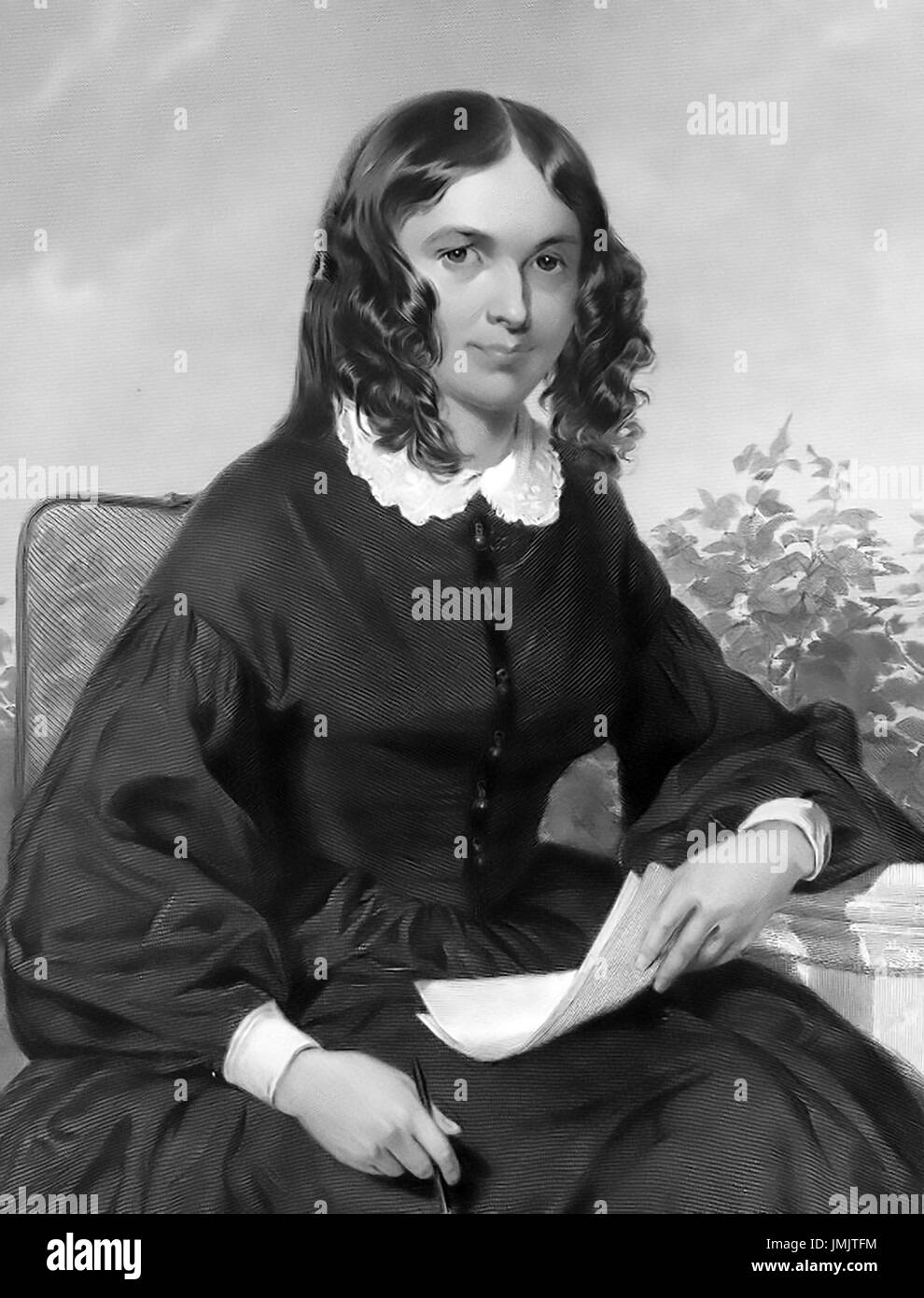 ELIZABETH BARRETT BROWNING (1806-1861) English poet and author about 1850 - Stock Image