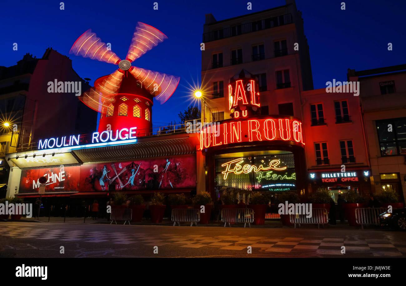 The cabaret famous Moulin Rouge at night,Montmartre area, Paris , France. Stock Photo