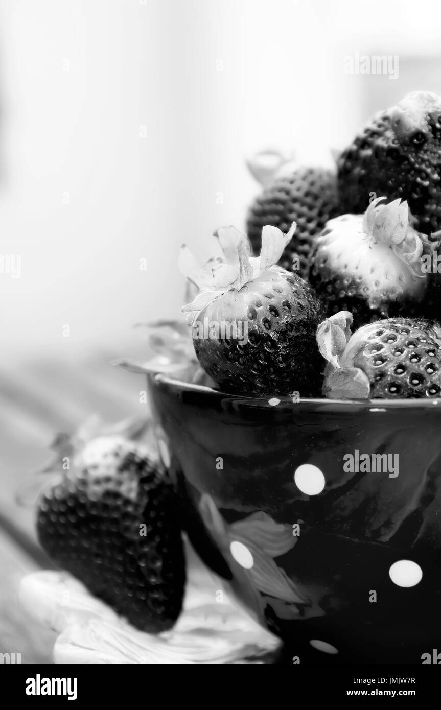 High contract photo of some black strawberries inside a cup - Stock Image