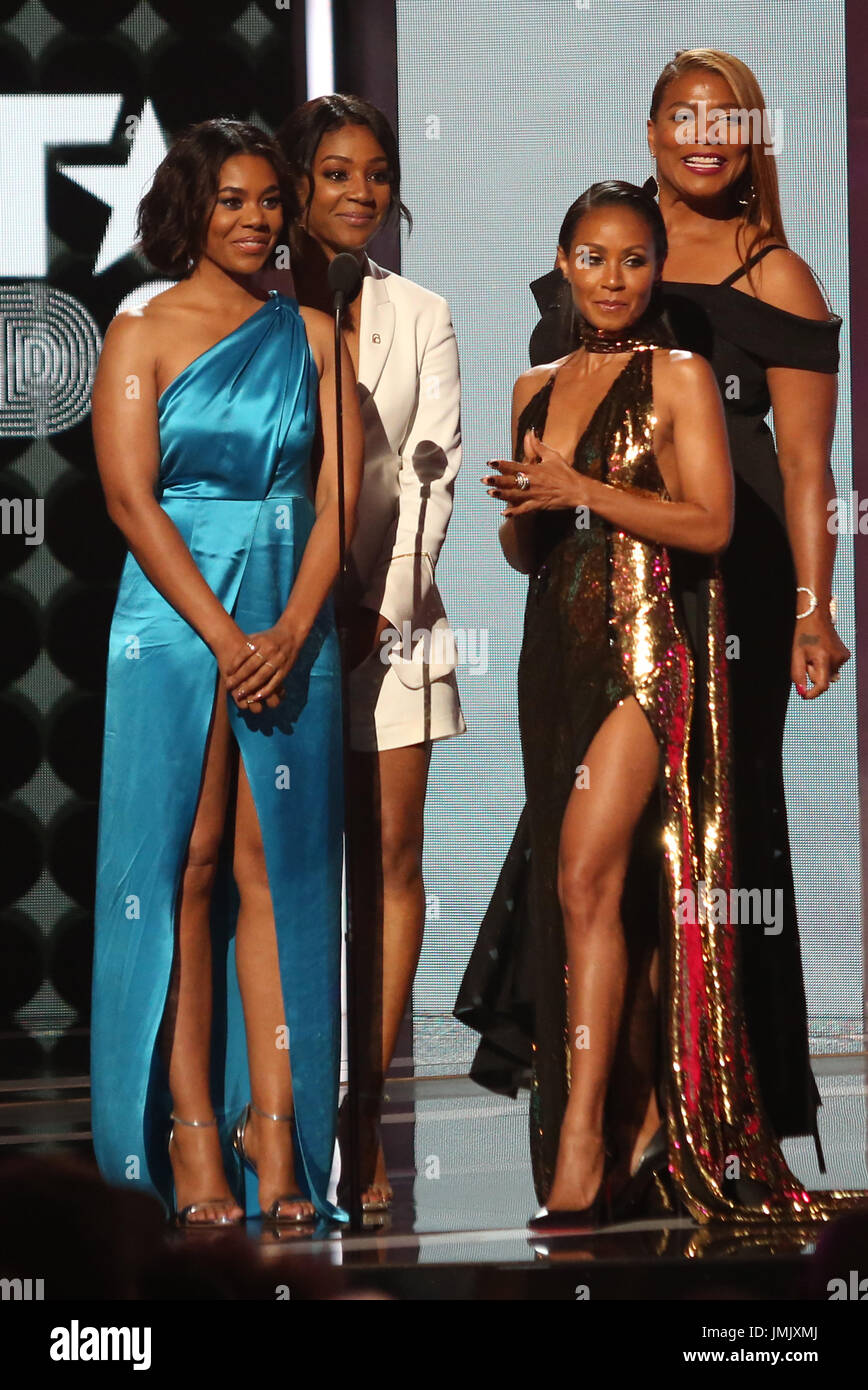2017 BET Awards Show  Featuring: Tiffany Haddish, Regina Hall, Queen Latifah, Jada Pinkett Smith Where: Los Angeles, Stock Photo