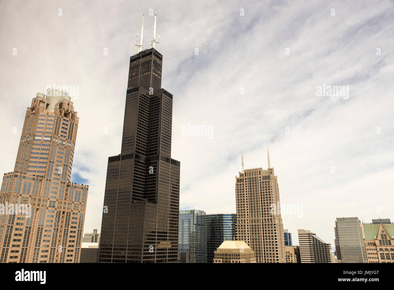 The Chicago skyline featuring the Sears Tower (ne Willis Tower) - Stock Image