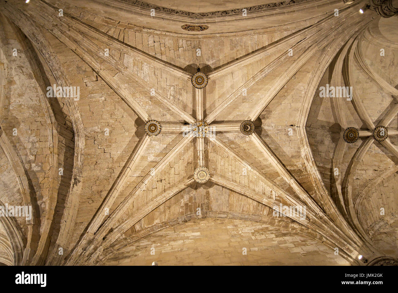 Image of the central cross of the ribbed vault in the central nave of Cuenca cathedral, Castilla La Mancha province, Spain. - Stock Image
