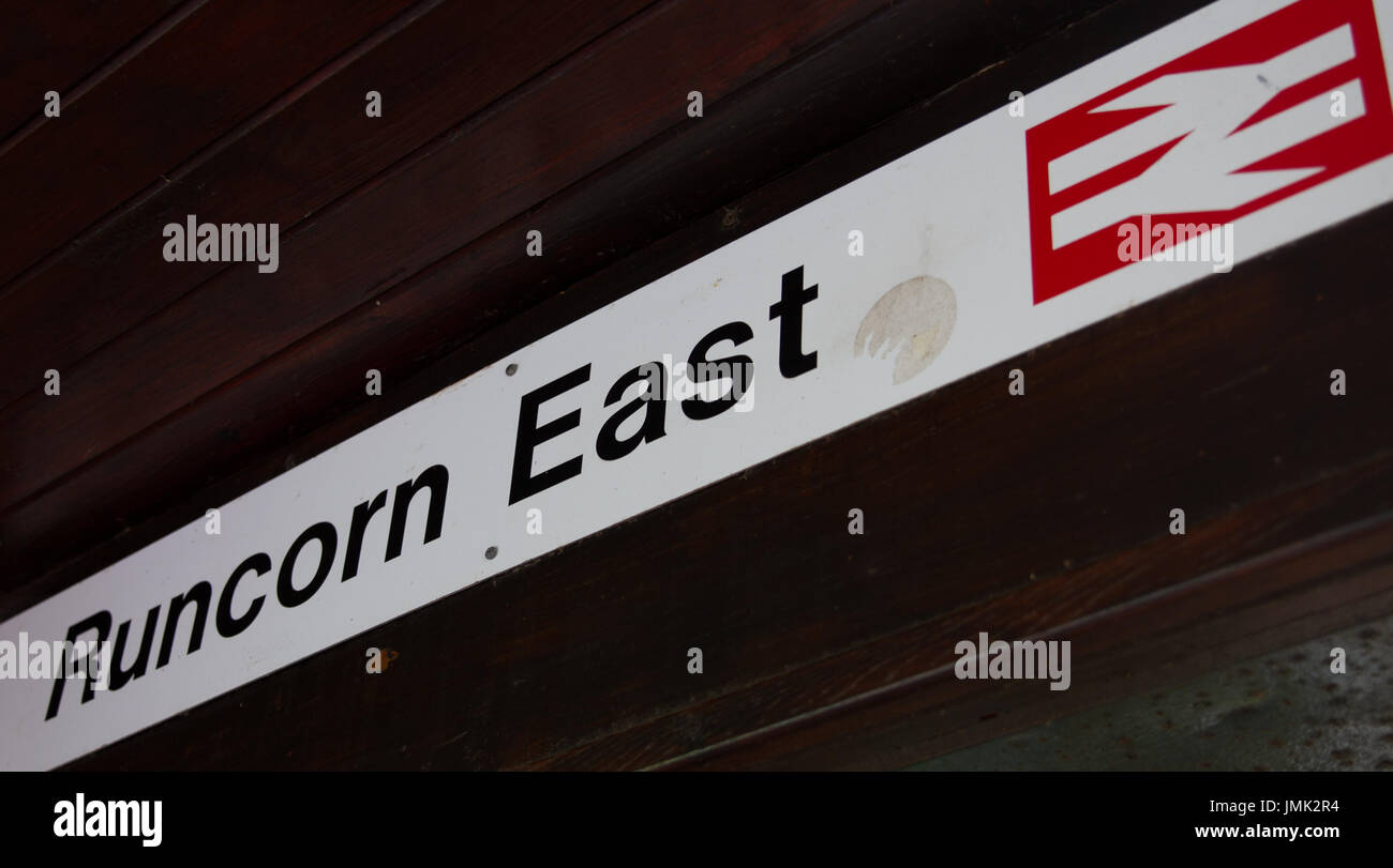 Runcorn East RUE Arriva Trains Wales Railway Train Station Sign  - Now operated by Transport for Wales Keolis Amey - Stock Image