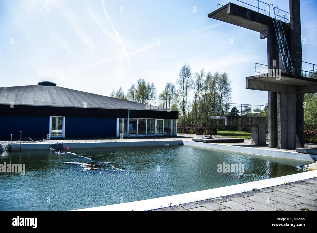 Abandoned Outdoor Swimming Pool With Jumping Platform Stock Photo Alamy