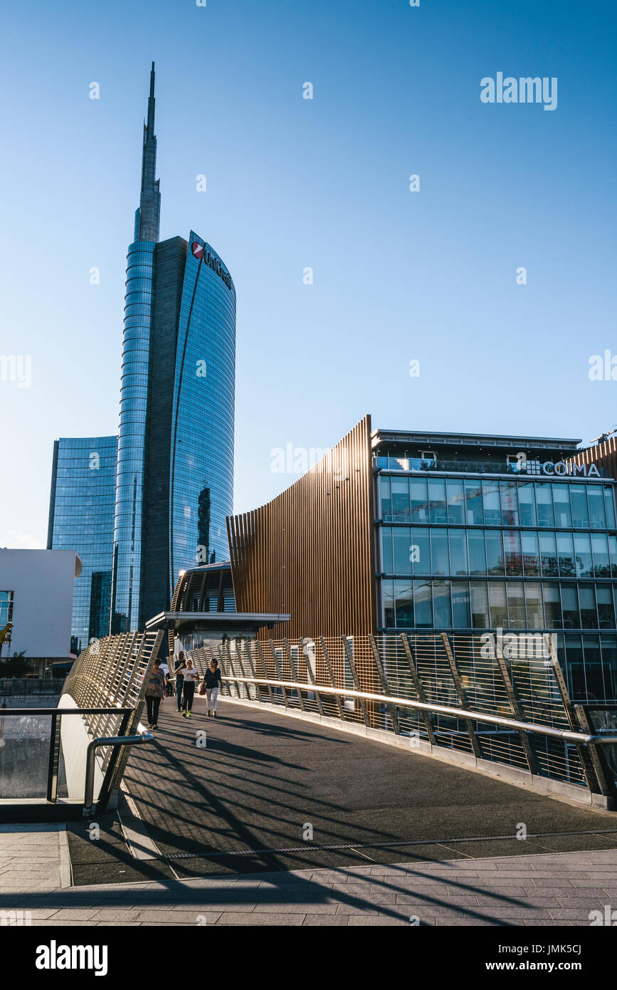 Milan, Italy - July 25th, 2017: Futuristic district of Porta Nuova, built for the Expo 2015 in Milan, Italy - Stock Image