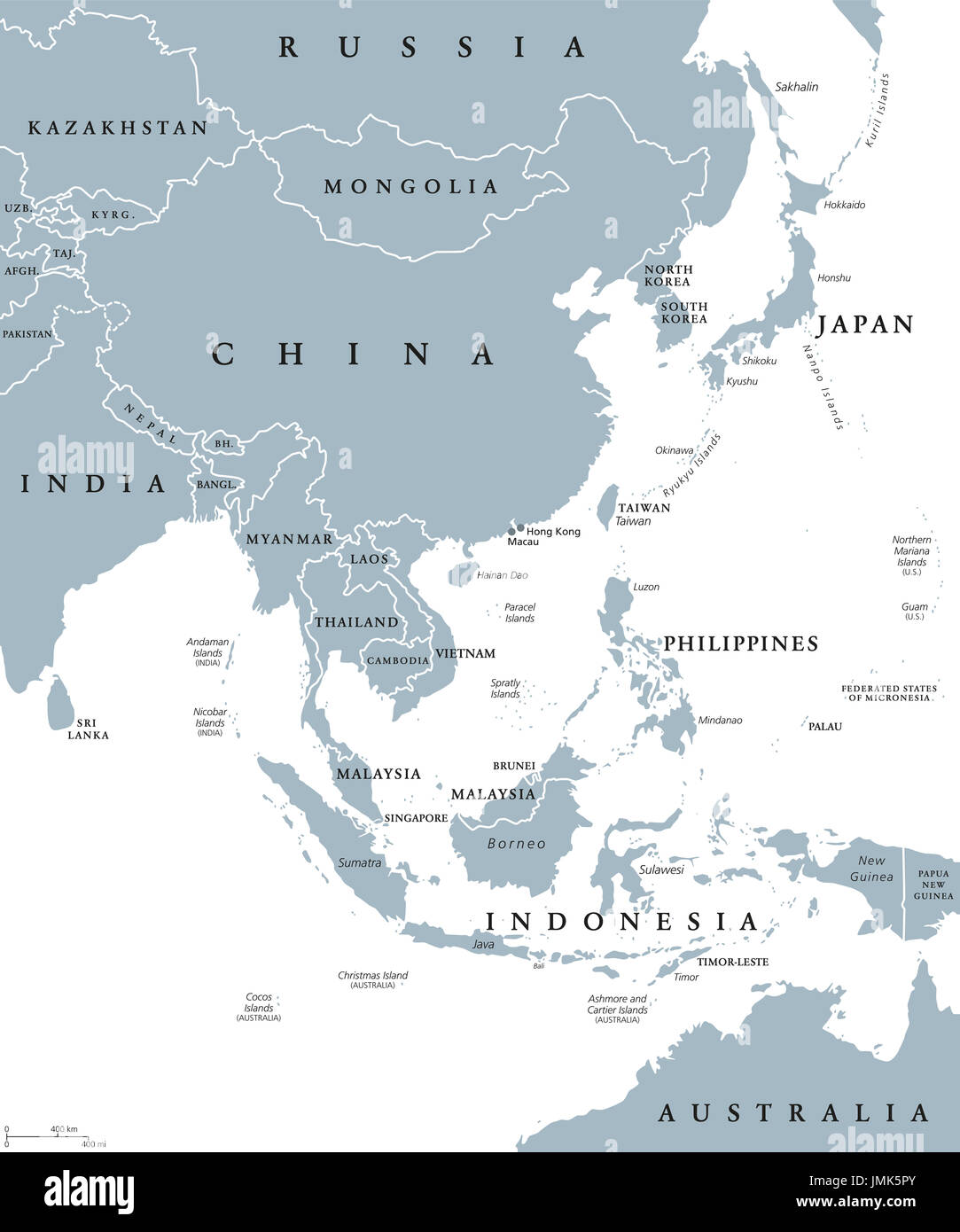 Countries Bordering China Map.East Asia Political Map With Countries And Borders Eastern