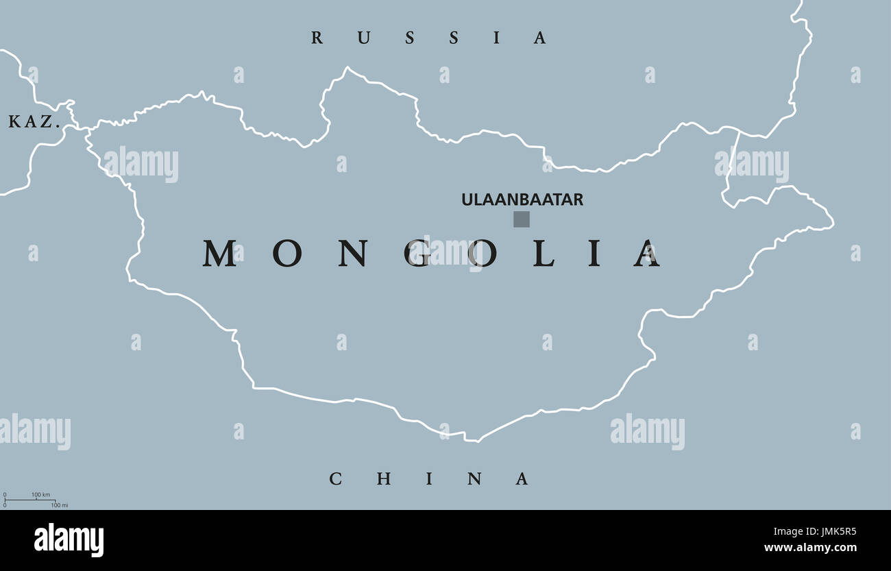 Mongolia political map with capital Ulaanbaatar. Landlocked unitary sovereign state in East Asia between Russia and China. Former Outer Mongolia. Stock Photo