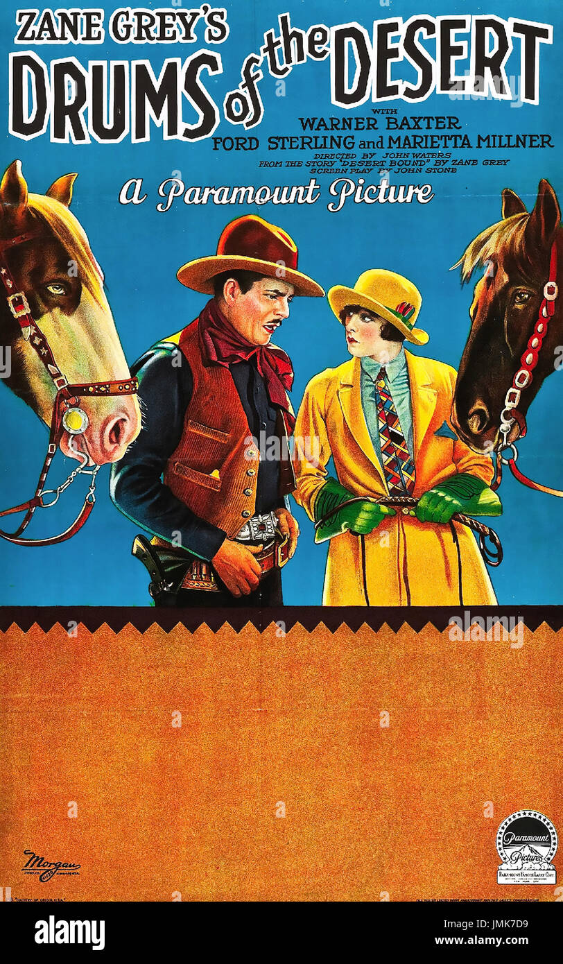 DRUMS OF THE DESERT 1927 silent Paramount Pictures film with Marietta Millner and Warner Baxter - Stock Image