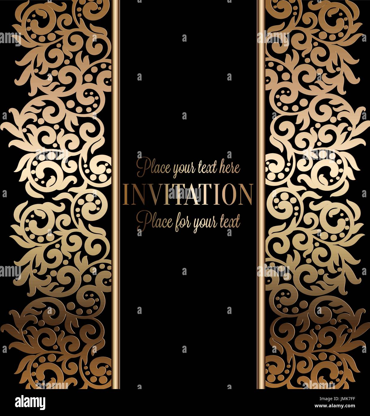 Antique baroque luxury wedding invitation gold on black background antique baroque luxury wedding invitation gold on black background with frame and place for text lacy foliage with shiny gradient stopboris Image collections