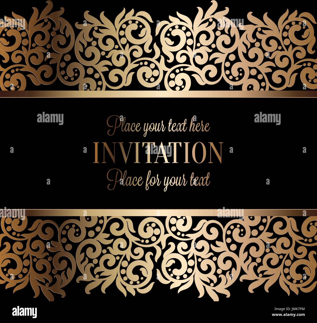 Antique baroque luxury wedding invitation gold on black background antique baroque luxury wedding invitation gold on black background with frame and place for text lacy foliage with shiny gradient stopboris Gallery