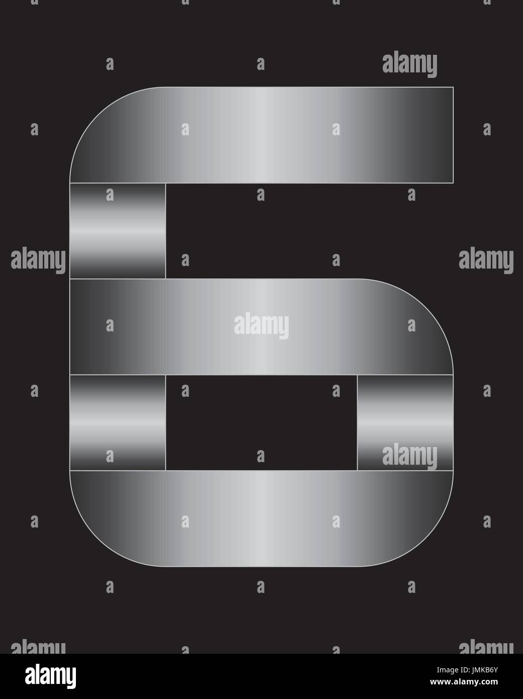 rectangular bent metal font - number 6 - Stock Image