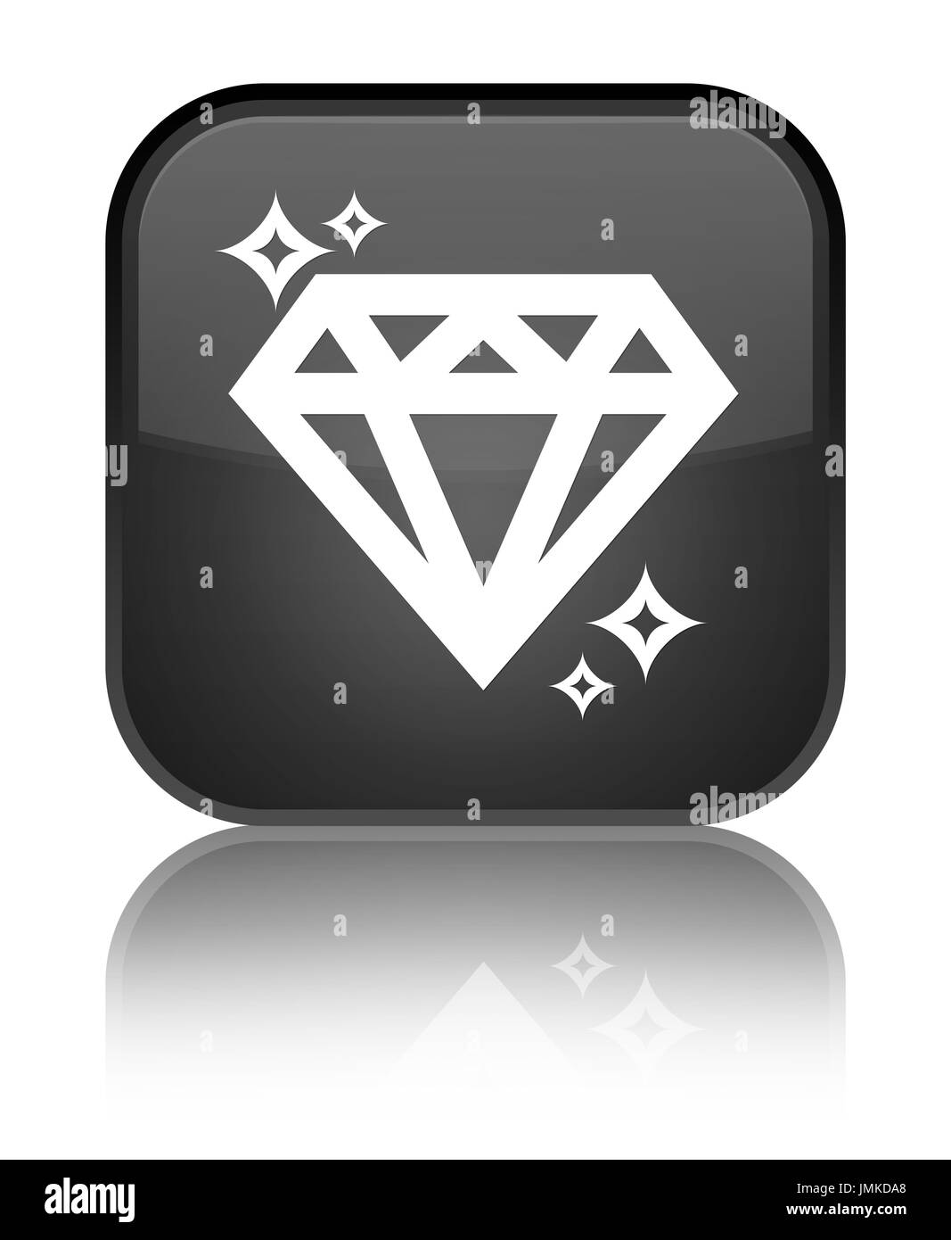 Diamond icon isolated on special black square button reflected abstract illustration - Stock Image