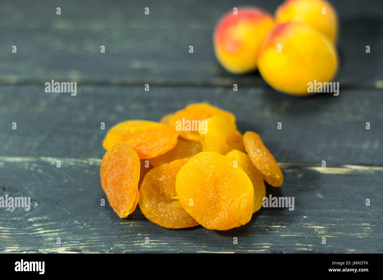 Apricot and apricot. Dry apricot. Fruits Healthy - Stock Image