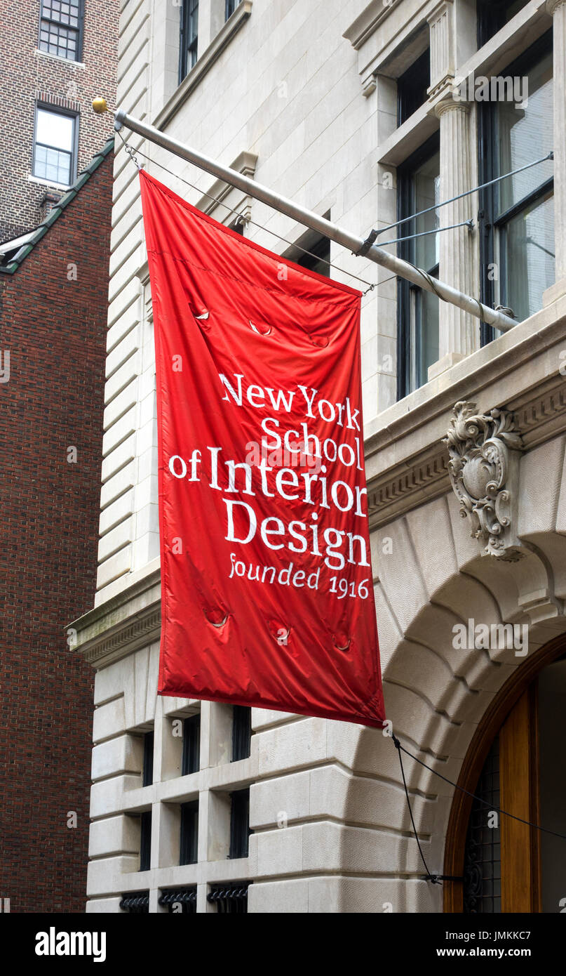 A red and white flag outside of New York's School of Interior Design, founded in 1915 - Stock Image