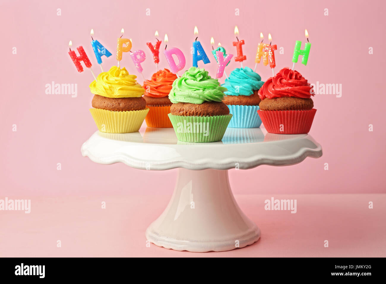 Wondrous Happy Birthday Cupcakes On Pink Background Stock Photo 150414392 Funny Birthday Cards Online Eattedamsfinfo