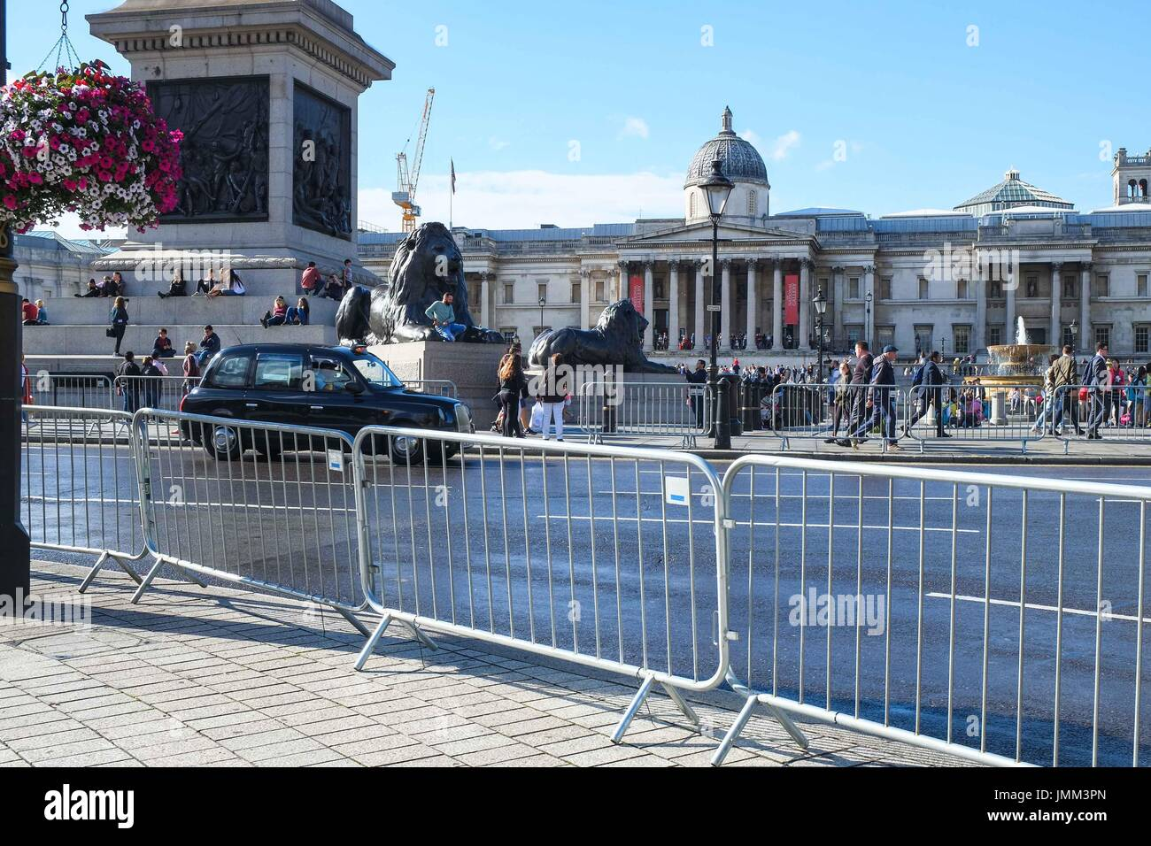 London, UK. 27th July, 2017. Preparation in central London for Prudential Ride London 2017 which takes place between Stock Photo
