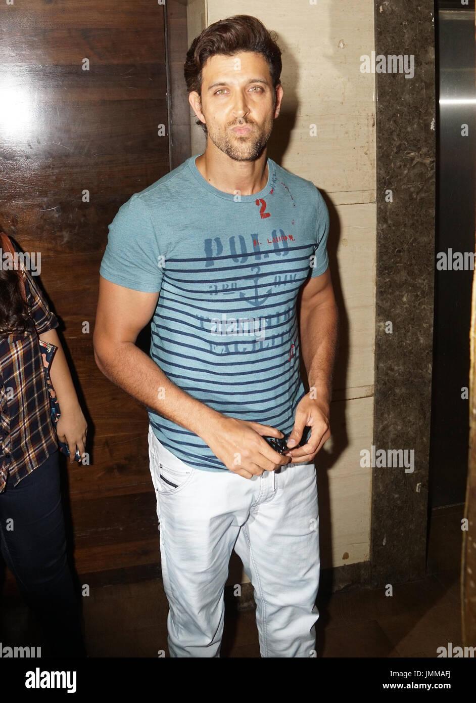 mumbai, india, 27th july 2017 bollywood actor Hrithik Roshan