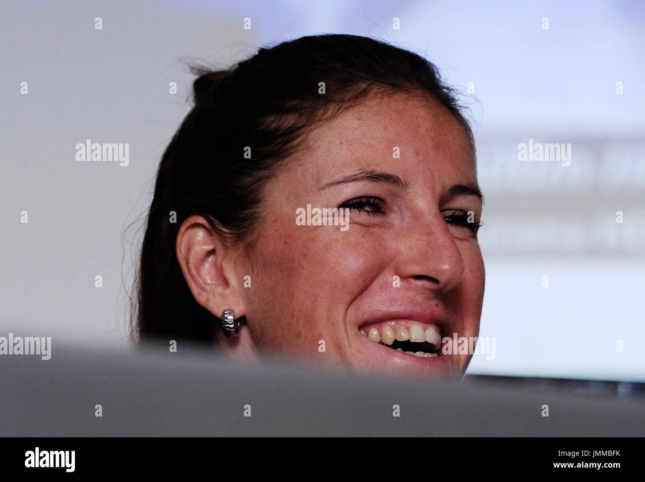 Prague, Czech Republic. 28th July, 2017. Czech athlete Zuzana Hejnova smiles during the press conference prior to the IAAF World Championships London 2017, in Prague, Czech Republic, on July 28, 2017. Credit: Roman Vondrous/CTK Photo/Alamy Live News - Stock Image