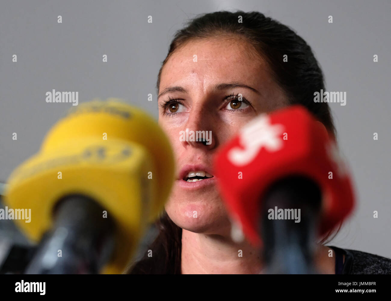 Prague, Czech Republic. 28th July, 2017. Czech athlete Zuzana Hejnova speaks during the press conference prior to the IAAF World Championships London 2017, in Prague, Czech Republic, on July 28, 2017. Credit: Roman Vondrous/CTK Photo/Alamy Live News - Stock Image