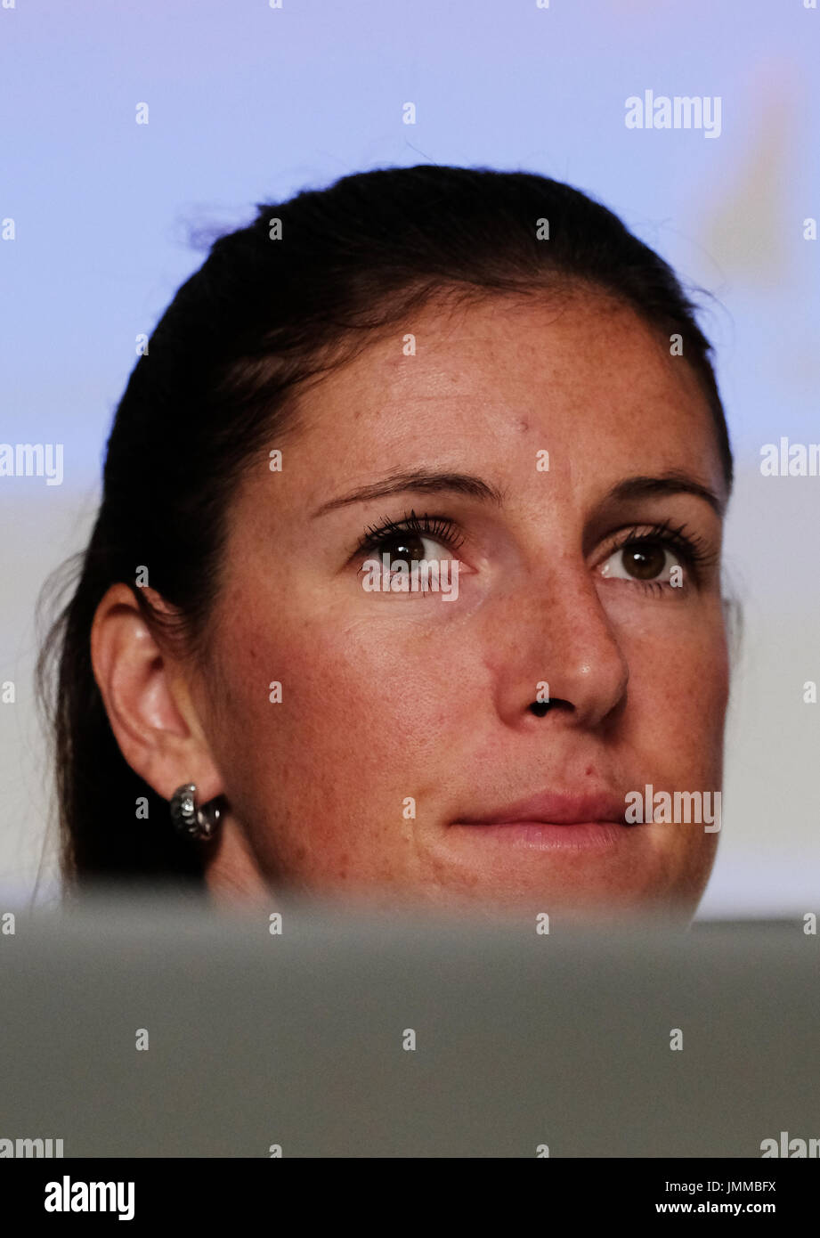 Prague, Czech Republic. 28th July, 2017. Czech athlete Zuzana Hejnova attends the press conference prior to the IAAF World Championships London 2017, in Prague, Czech Republic, on July 28, 2017. Credit: Roman Vondrous/CTK Photo/Alamy Live News - Stock Image