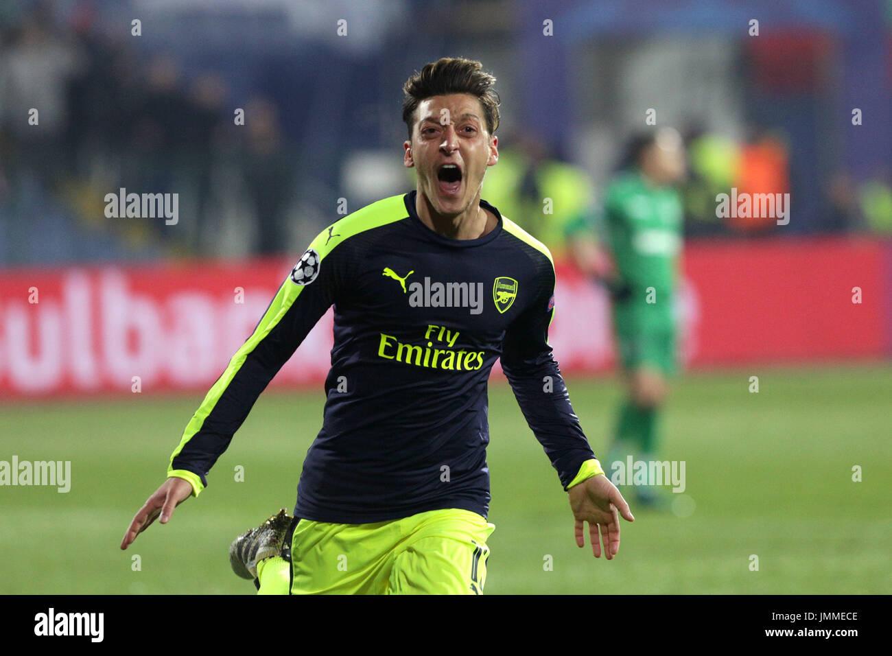 Sofia, Bulgaria - November 1, 2016: Arsenal's Mesut Ozil celebrates after scoring a goal during UEFA Champions League football match between Ludogorets Razgrad and Arsenal at Bulgaria's National Stadium. - Stock Image