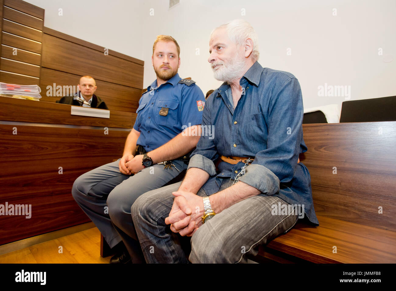 Prague, Czech Republic. 28th July, 2017. The Prague Municipal Court sentenced today, on Friday, July 28, 2017, Jawad Mansour, a Cypriot of Syrian origin, to 12.5 years in prison for the murder of a 20-year-old Ukrainian woman in Prague in July 1999, after which he left for home and Cyprus only extradited him to the Czech Republic last year. Mansour dismisses any guilt. The verdict is not yet valid. Credit: Vit Simanek/CTK Photo/Alamy Live News - Stock Image