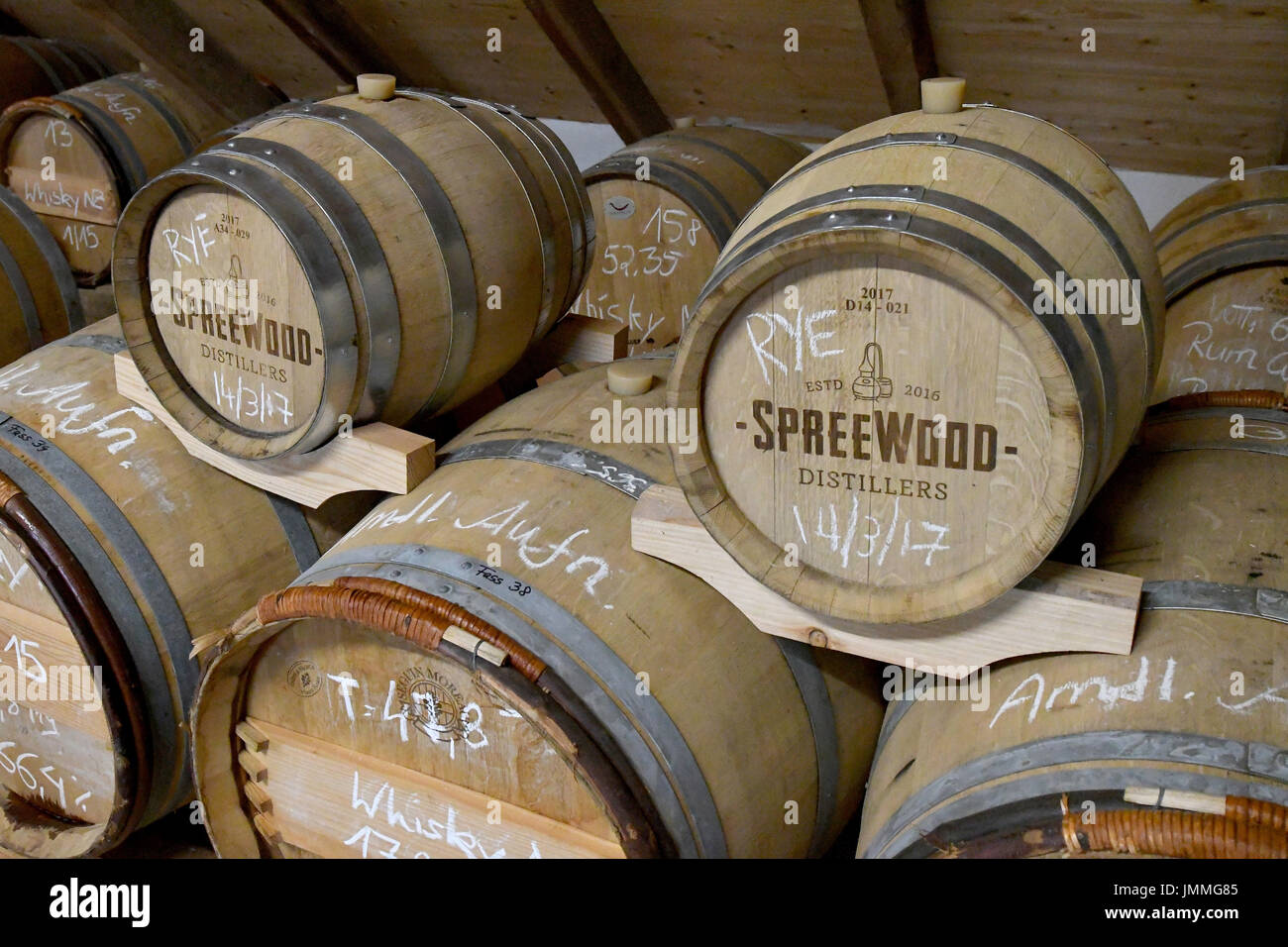Schlepzig, Germany. 26th July, 2017. Barrels are stored at the storage of the Spreewood Distillers in Schlepzig, Stock Photo