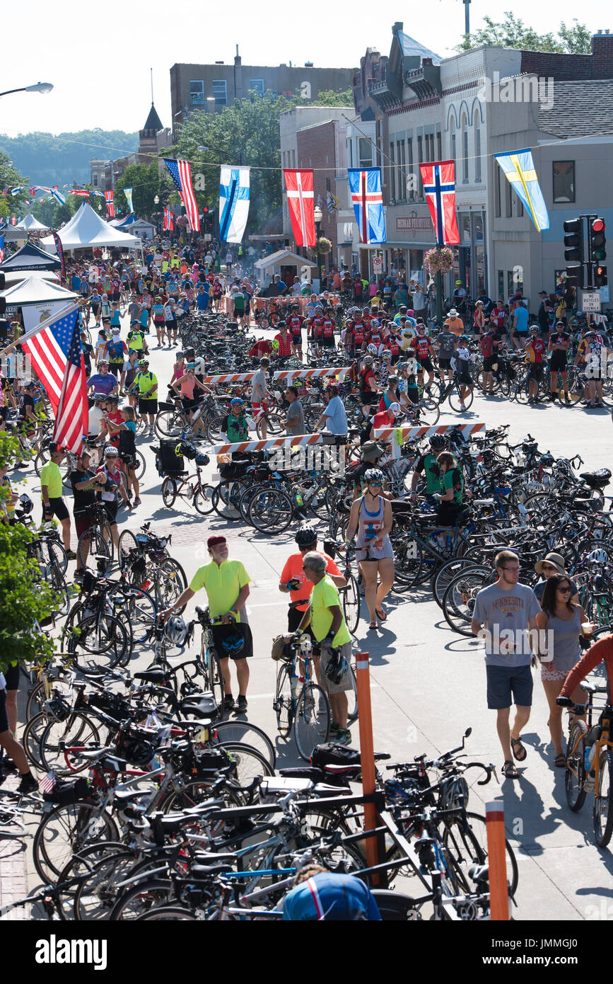 When RAGBRAI and Nordic Fest collide, you get quite the spectacle. A shot of Water Street, in downtown Decorah, Iowa. Credit: Nick Chill/Alamy Live News - Stock Image