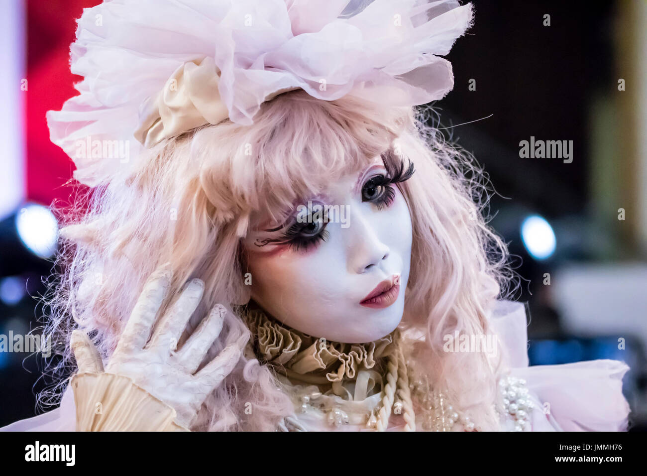 "Kuala Lumpur, Malaysia. 28th July, 2017. This is Japan's famous Minori, a Japanese shiro-nuri artist. ""Shiro-nuri"" Stock Photo"