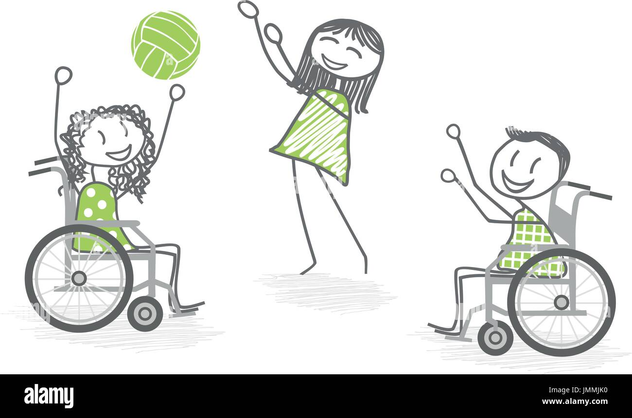 Disabled People In Wheelchairs Play Ball With A Person Standing For Re Education