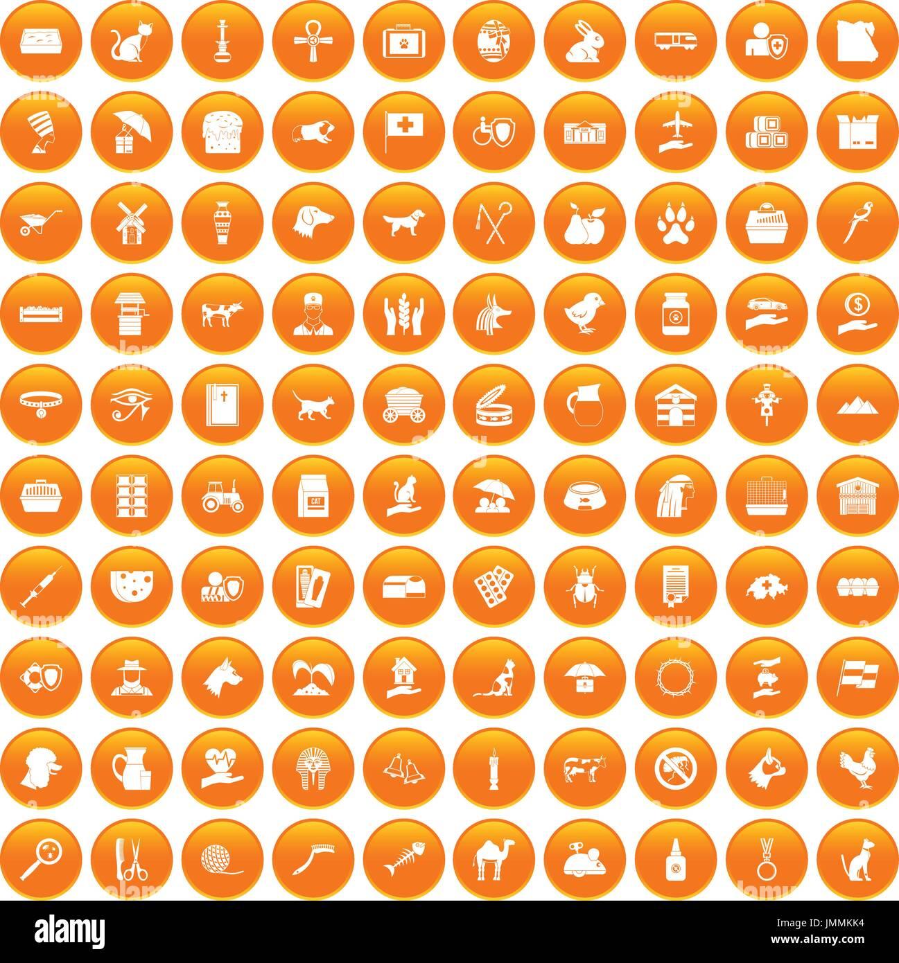 100 pets icons set orange - Stock Image