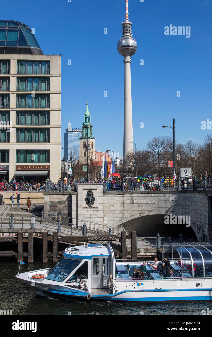 Berlin, Germany, Alexander Square, downtown, Mitte district, Berlin TV tower, Radisson Blu Hotel, river Spree, sightseeing boat, - Stock Image