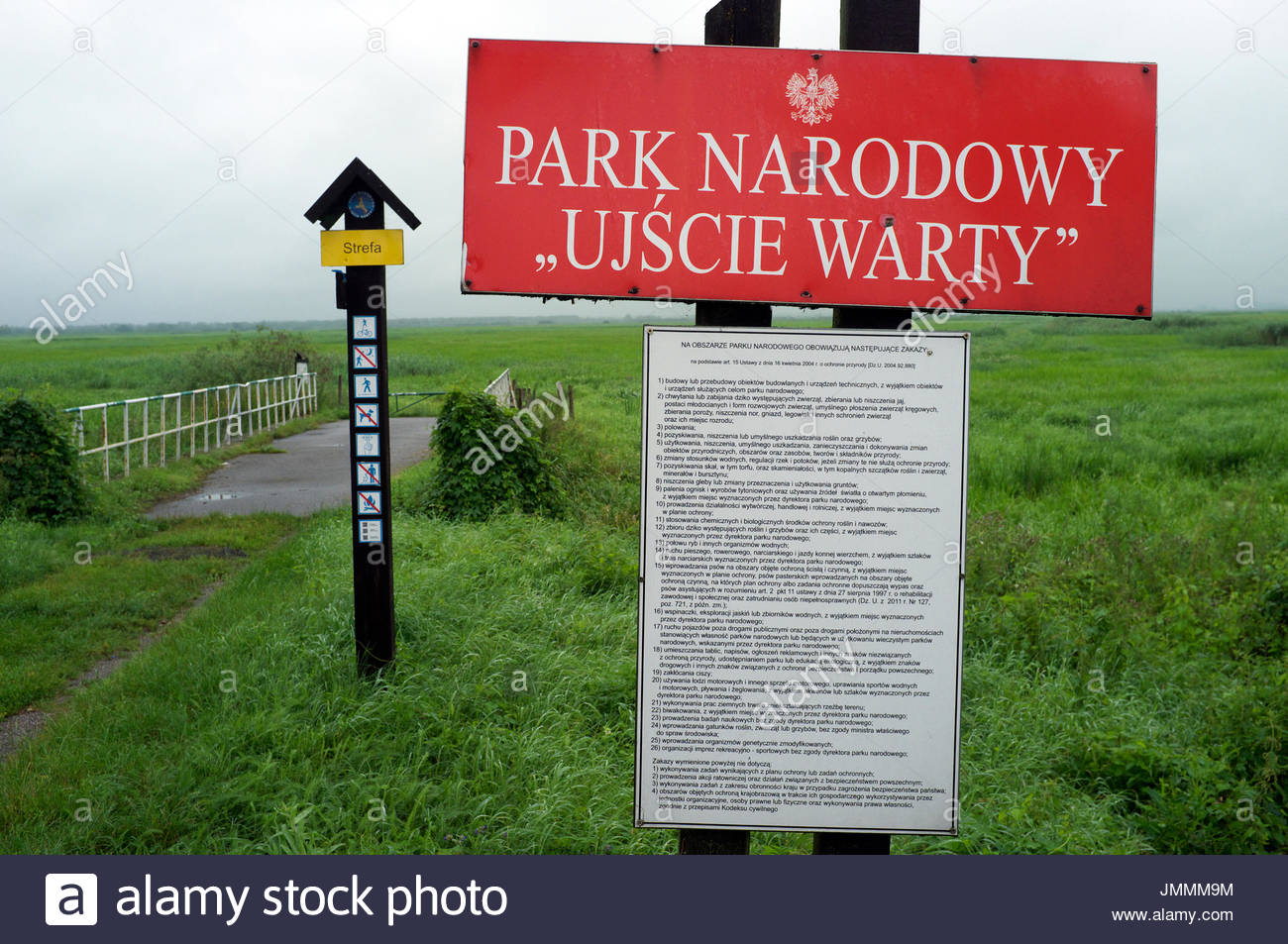 Signage to comprehend when entering the Ujscie Warty National Park (Park Narodowy Ujscie Warty), in western Poland. - Stock Image