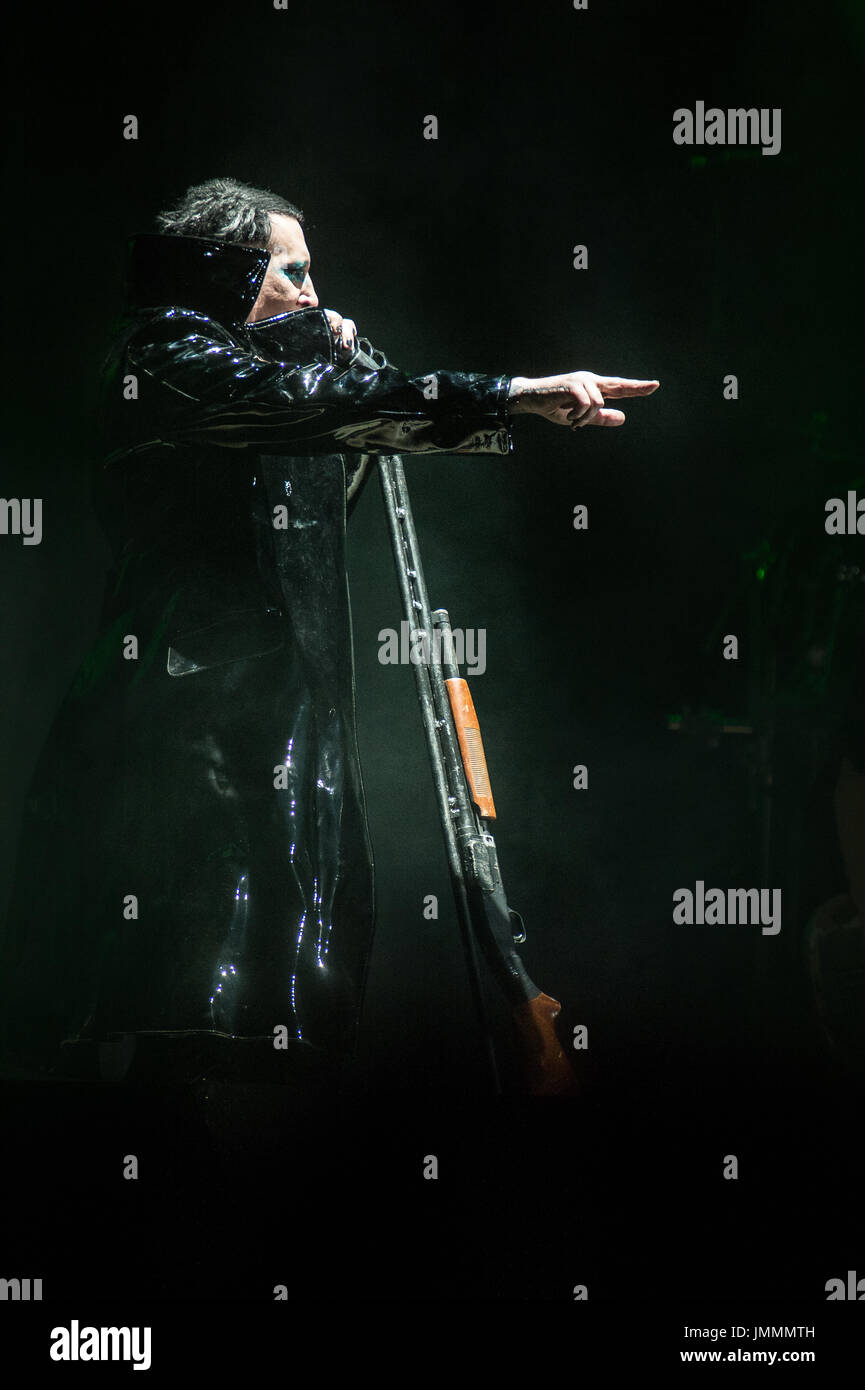 Rock'n'Roll singer Marilyn Manson, in concert at Capannelle Arena, Rome, Italy - Stock Image