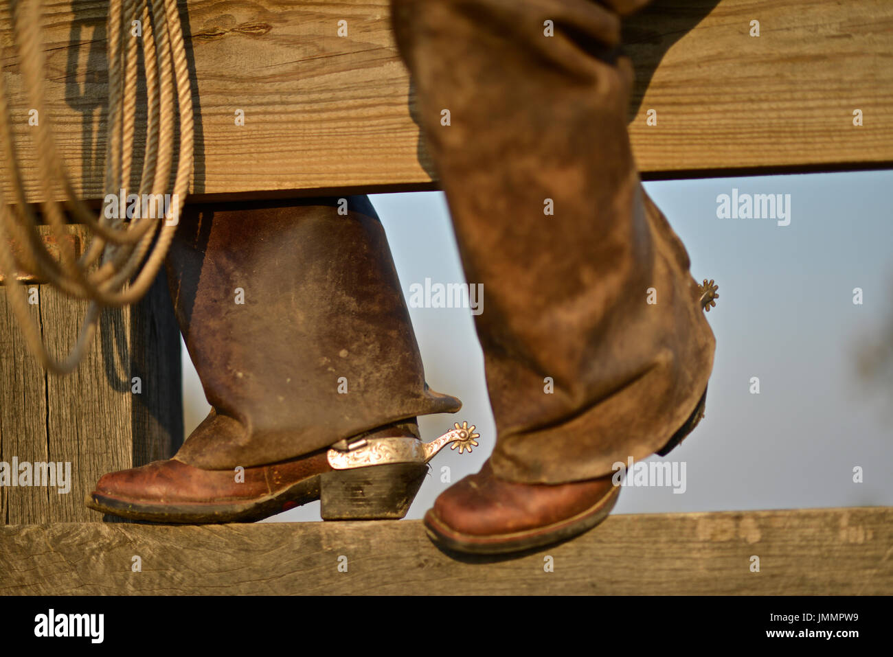 Leather boot and spur of a Camargue Gardian. - Stock Image