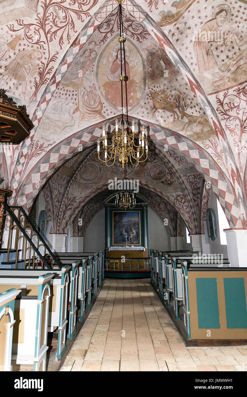 Danish Medieval Religious Frescos From Hoevelse Church - Stock Image