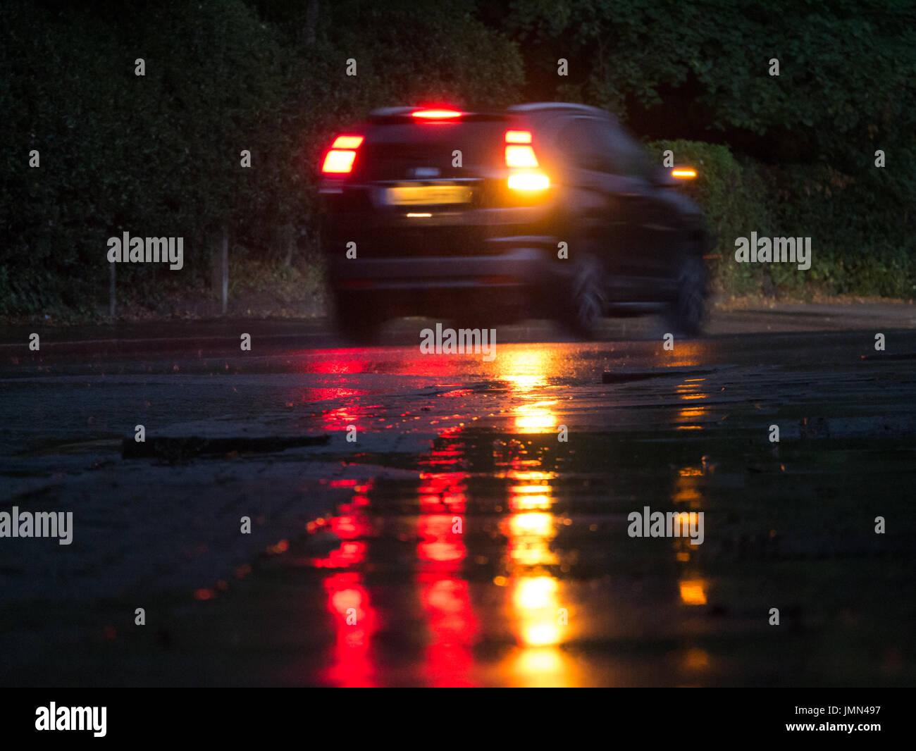 Car Lights In The Rain Stock Photos Car Lights In The Rain Stock