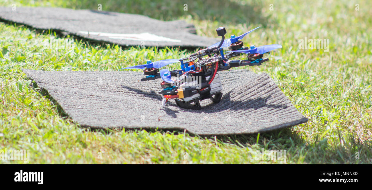 Drone racing photography. Great for event invitations, meetups and everything related with the new robotics wave. - Stock Image