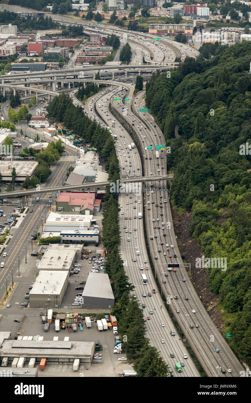 View of I-5 interstate highway leading to I-90 interchange