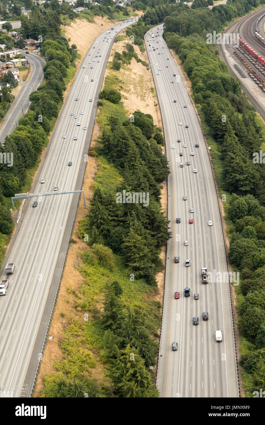 aerial view of cars on I-5 Interstate Highway near Boeing Field, Seattle, Washington State, USA - Stock Image