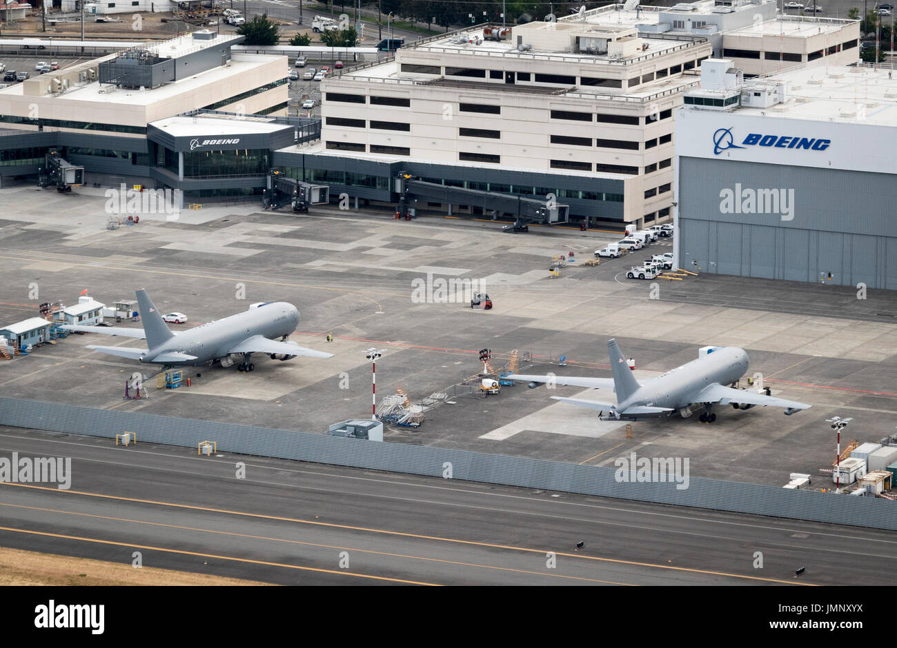 Boeing KC-46 Pegasus military aerial refueling and strategic transport aircraft, Boeing Field, Seattle, Washington State, USA - Stock Image