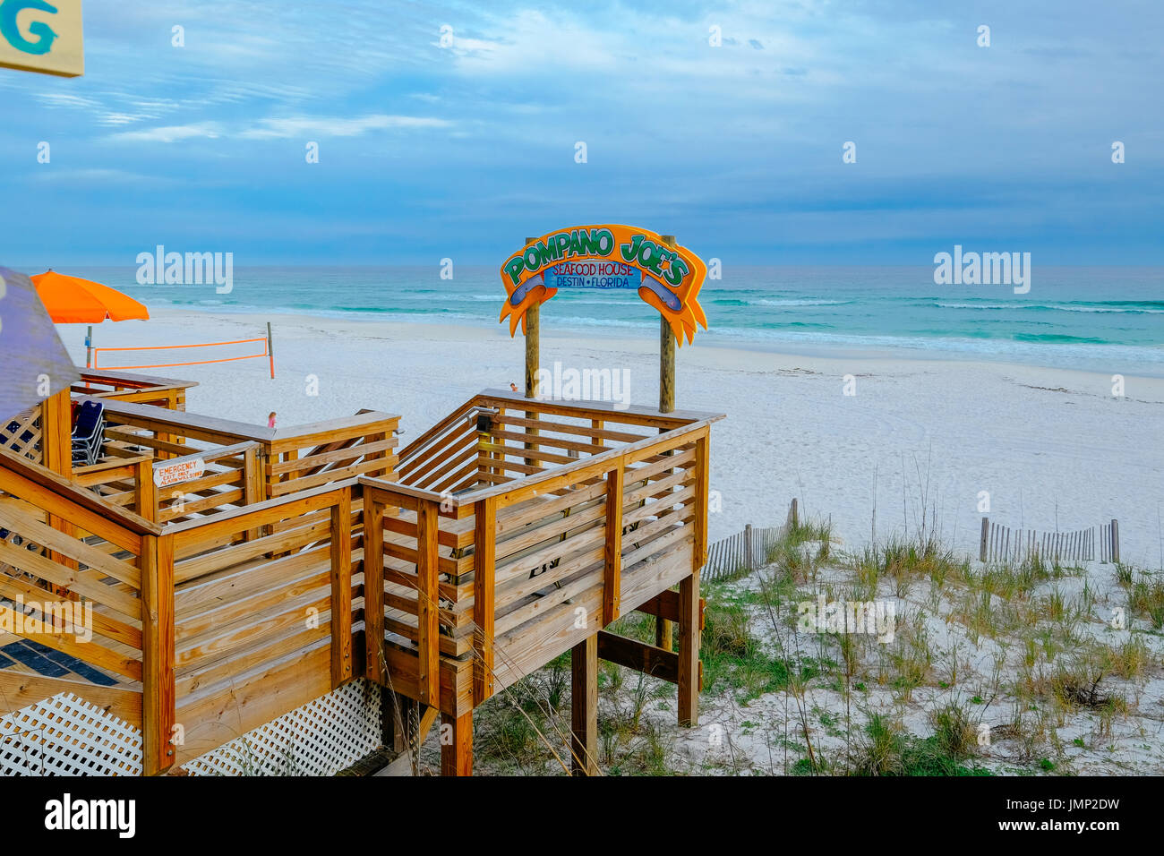 Pompano Joe's restaurant and bar beach entrance, at Miramar Beach,east of Destin, Florida, USA, on the Gulf of Mexico. - Stock Image
