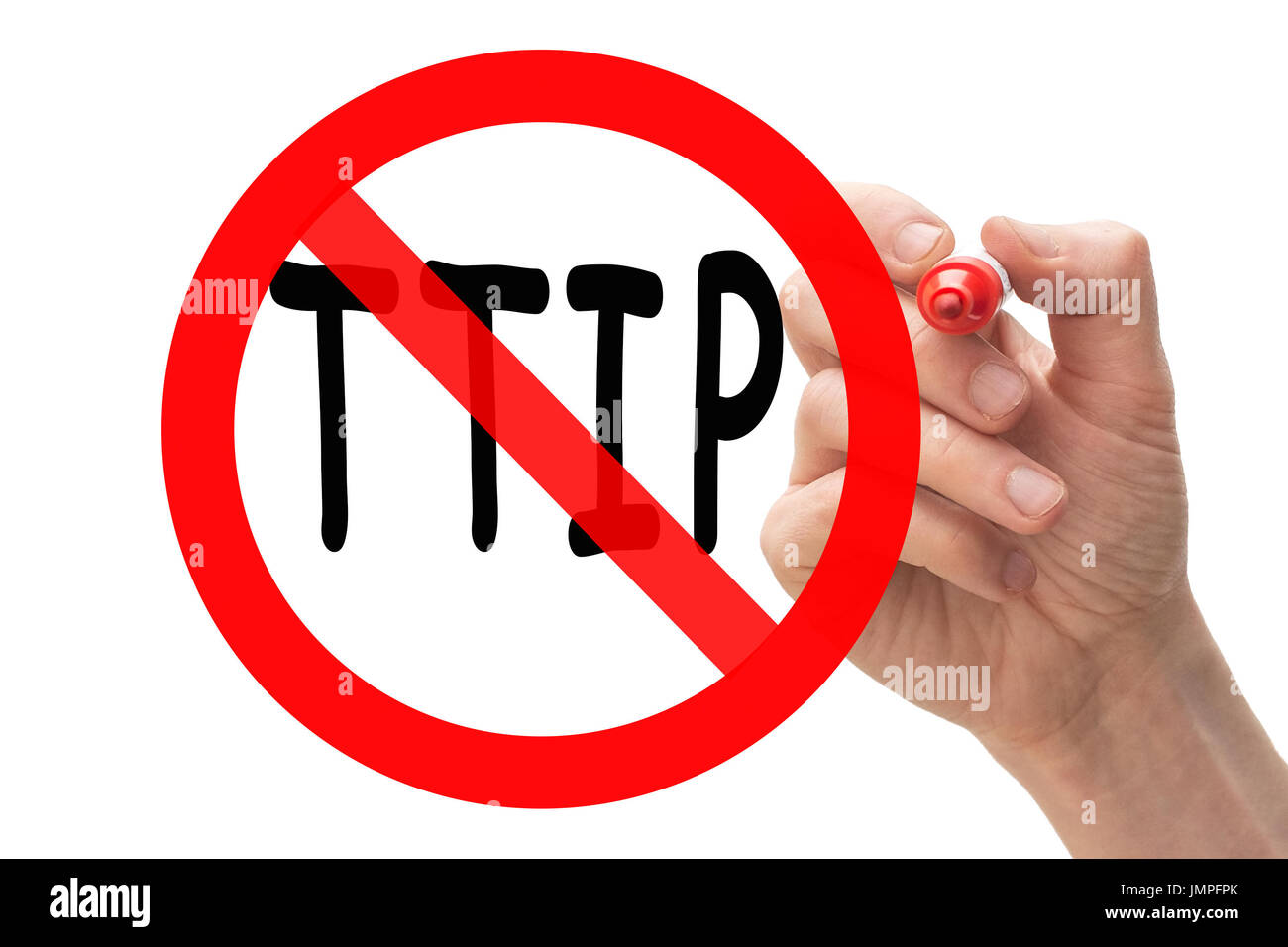 Hand drawing stop sign around TTIP. Conceptual. Stock Photo