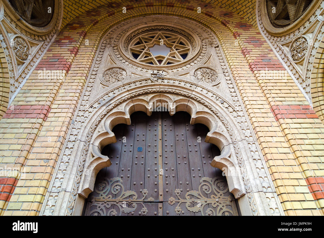 BUDAPEST, HUNGARY - FEBRUARY 21, 2016: Exterior of the Great Synagogue in Dohany Street. The Dohany Street Synagogue is the largest synagogue in Europ - Stock Image