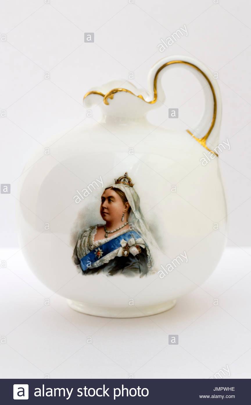 Queen Victoria Diamond Jubilee commemorative Jug, Dorset, England, UK, GB - Stock Image