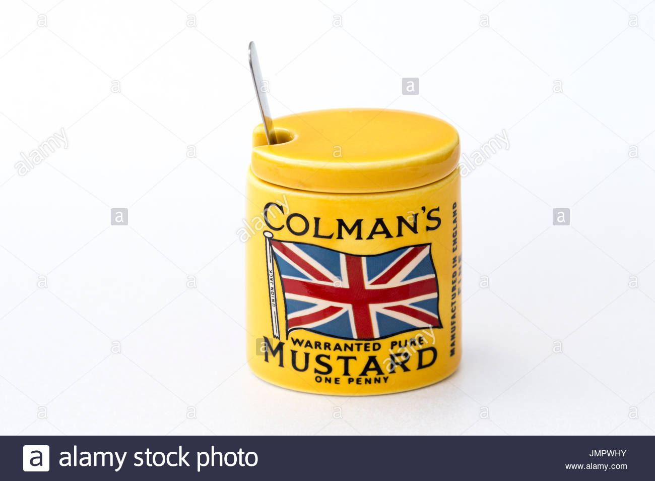 Coleman's Union Jack Mustard Pot and Spoon, Dorset, England, UK GB - Stock Image